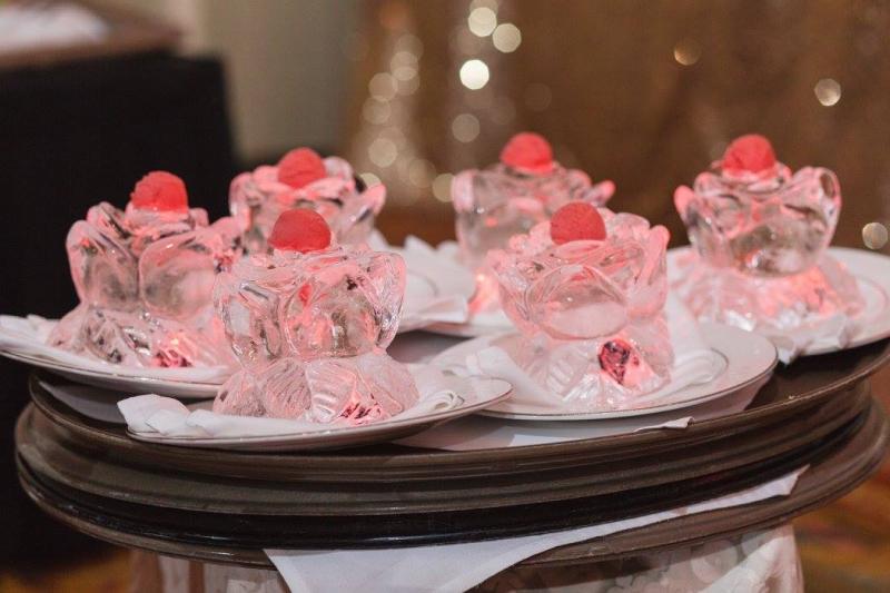 Rose Sorbet Ice Sculptures